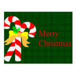 Tarjeta de Navidad de los bastones de caramelo Postal