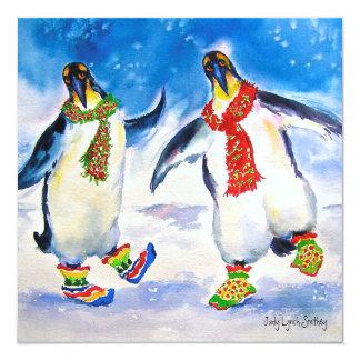 Tarjeta de Navidad de los pares del pingüino Invitación 13,3 Cm X 13,3cm
