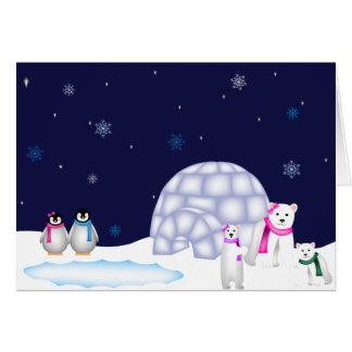 Tarjeta de Navidad de los pingüinos y de los osos