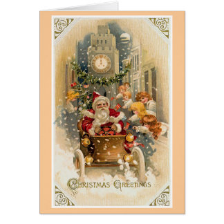 Tarjeta Tarjeta de Navidad de medianoche del vintage de la