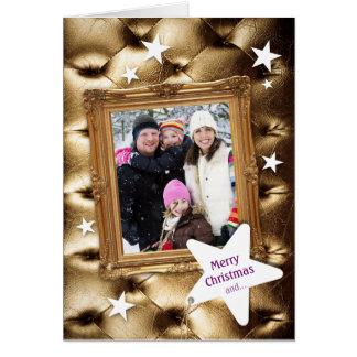 Tarjeta de Navidad de oro elegante de la foto de