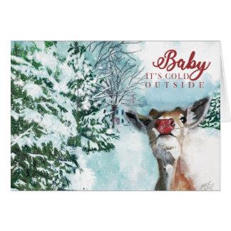 Tarjeta de Navidad de Rudolph del bebé - bebé es