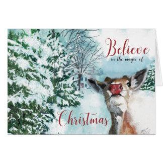Tarjeta de Navidad de Rudolph del bebé - crea