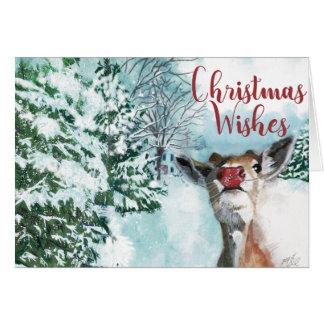 Tarjeta de Navidad de Rudolph del bebé - deseos