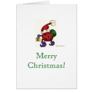 tarjeta de Navidad de santa de la mariquita