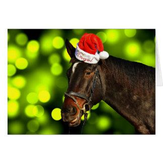 Tarjeta de Navidad de Santa del caballo