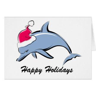 Tarjeta de Navidad de Santa del delfín
