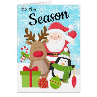 Tarjeta de Navidad de Santa, del reno y del