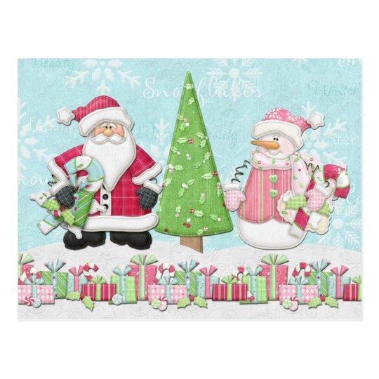 Tarjeta de Navidad de Santa y del muñeco de nieve