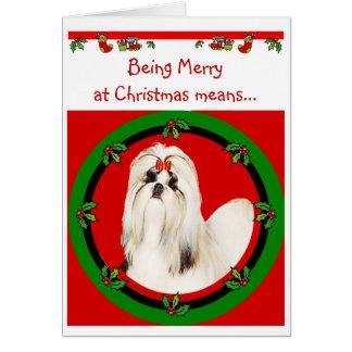 Tarjeta de Navidad de Shih Tzu