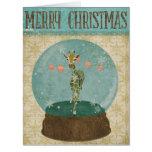 Tarjeta de Navidad de Snowglobe de la jirafa del