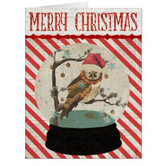 Tarjeta de Navidad de Snowglobe del búho