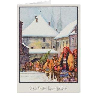 Tarjeta de Navidad de Sretan Božić del croata del