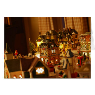 Tarjeta de Navidad decorativa de la ciudad del
