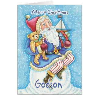 Tarjeta de Navidad del ahijado con Santa y los jug