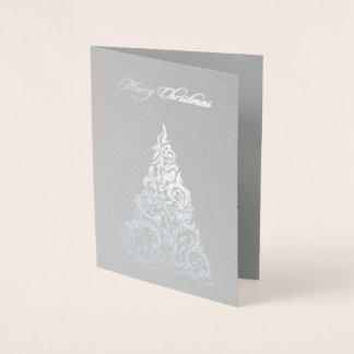 Tarjeta Con Relieve Metalizado Tarjeta de Navidad del árbol de navidad del efecto