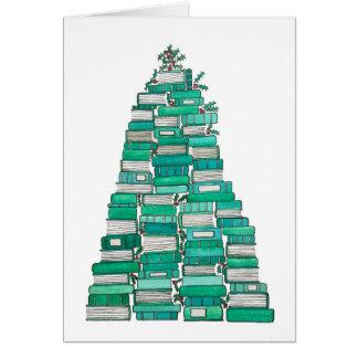 Tarjeta de Navidad del árbol del libro