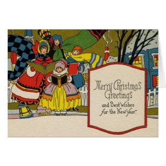 Tarjeta de Navidad del art déco del vintage