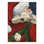 """Tarjeta de Navidad del arte del perro del """"galgo y"""