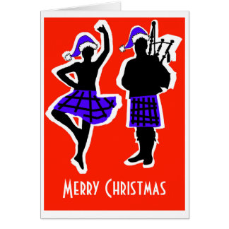 Tarjeta de Navidad del bailarín y del gaitero de