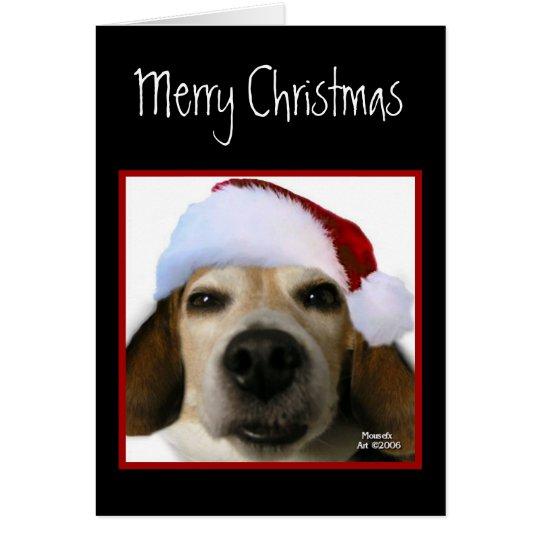 Tarjeta de Navidad del beagle (gorra de Santa)