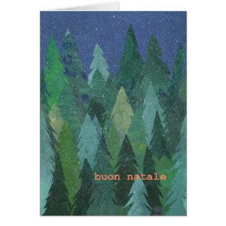 Tarjeta de Navidad del bosque Nevado: Italiano