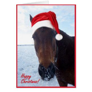 Tarjeta de Navidad del caballo - esconda dentro