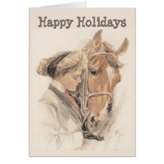 Tarjeta de Navidad del caballo y de señora Vintage
