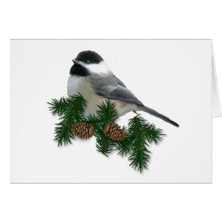 Tarjeta de Navidad del Chickadee