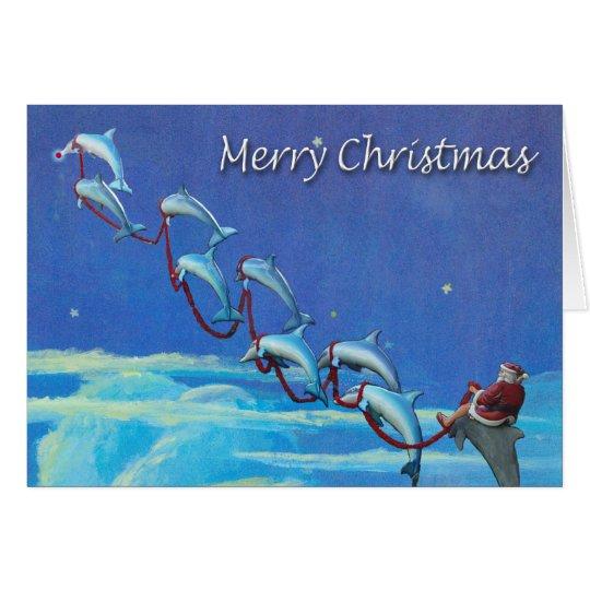Tarjeta de Navidad del cielo nocturno de Santa y