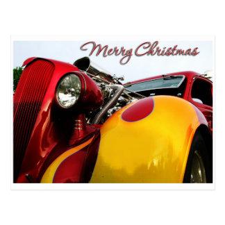 Tarjeta de Navidad del coche de carreras Postal