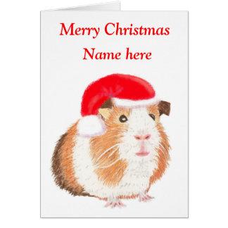 Tarjeta de Navidad del conejillo de Indias,