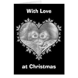 Tarjeta de Navidad del corazón del copo de nieve