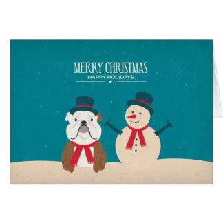 Tarjeta de Navidad del dogo del SNORT del vintage