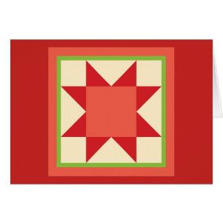 Tarjeta de Navidad del edredón - estrella del