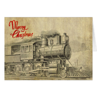 Tarjeta de Navidad del ejemplo del tren del vapor