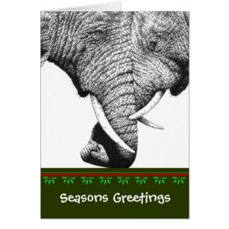 Tarjeta de Navidad del elefante africano