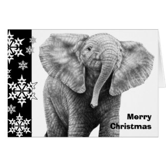 Tarjeta de Navidad del elefante africano del bebé