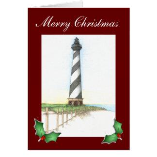 Tarjeta de Navidad del faro de Hatteras del cabo