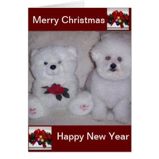 Tarjeta de Navidad del frise de Bichon