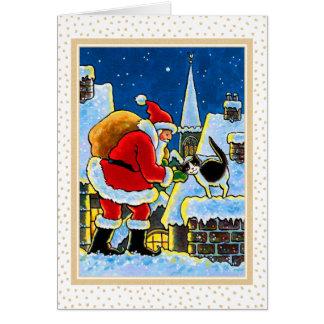 Tarjeta de Navidad del gato de Santa y del gatito