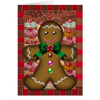 Tarjeta de Navidad del hombre de pan de jengibre -
