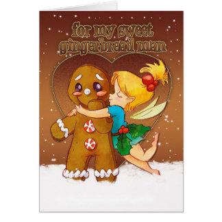 Tarjeta de Navidad del hombre de pan de jengibre y