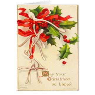Tarjeta de Navidad del hueso del deseo del