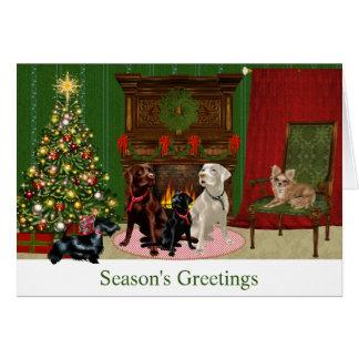 Tarjeta de Navidad del labrador retriever