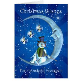 tarjeta de Navidad del nieto con el muñeco de