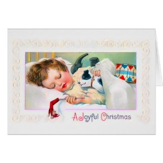 Tarjeta de Navidad del niño el dormir