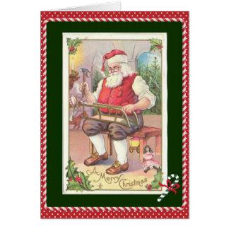Tarjeta de Navidad del niño, vintage Santa