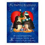 Tarjeta de Navidad del novio con besar los pingüin