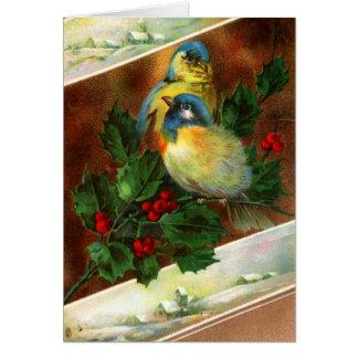 Tarjeta de Navidad del pájaro del Victorian